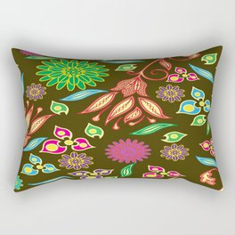 Bright Floral Fantasy Rectangular Pillow