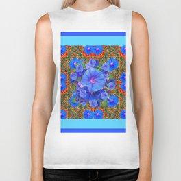 Baby Blue Modern Art  Blue Morning Glories Floral Art Biker Tank