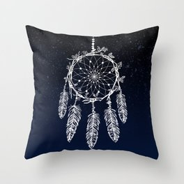 dreamcatcher night sky indigo constellations Throw Pillow
