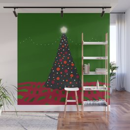 Christmas Tree with Glowing Star Wall Mural