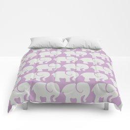 Troop Of Elephants (Elephant Pattern) - Gray Purple Comforters