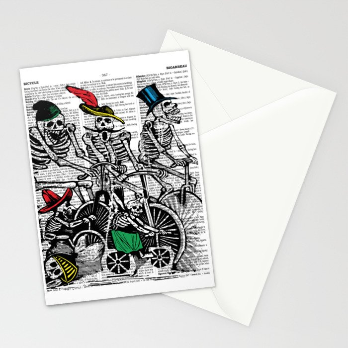 Calavera Cyclists Stationery Cards