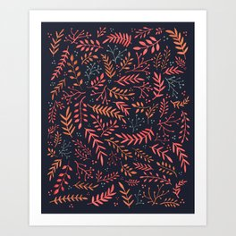 Midnight Meadow Botanical Pattern Art Print