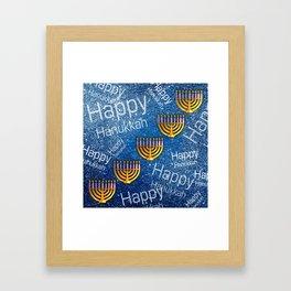 Happy, Happy Hanukkah Menorah Pattern Framed Art Print