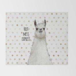 Hot Mess Llama Throw Blanket