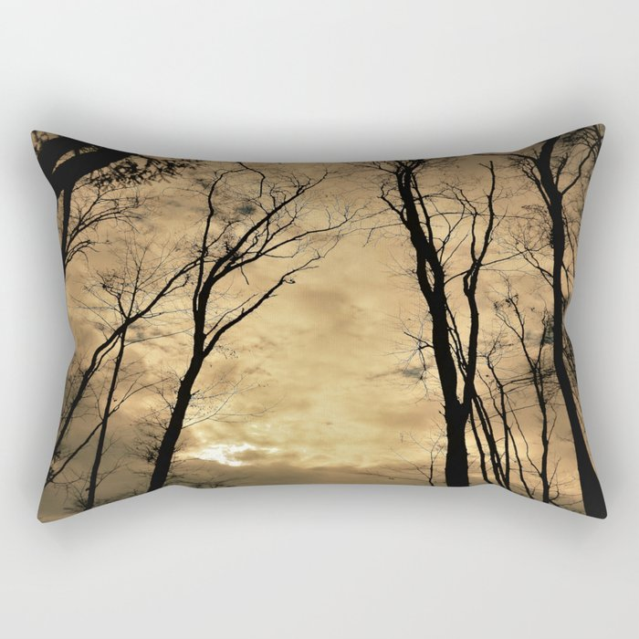 snow clouds above the wood Rectangular Pillow