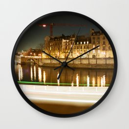 The Canal at Night Wall Clock