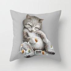 DRUNKCAT Throw Pillow