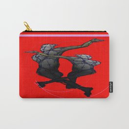 Red-Charcoal Grey Abstracted Saturday Night Dance Carry-All Pouch