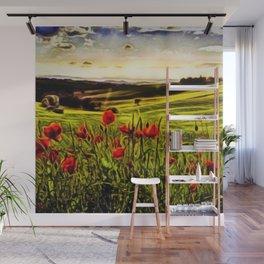 Red Poppy Fields - Tuscany, Italy Landscape by Jeanpaul Ferro Wall Mural