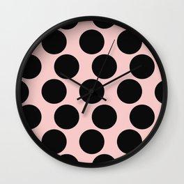 Millennial Pink Brown Dots Wall Clock