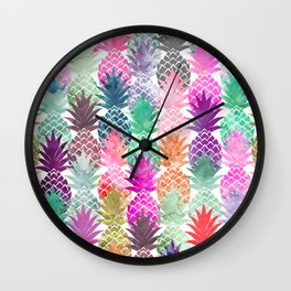 Bright exotic pineapples pastel watercolor pattern Wall Clock