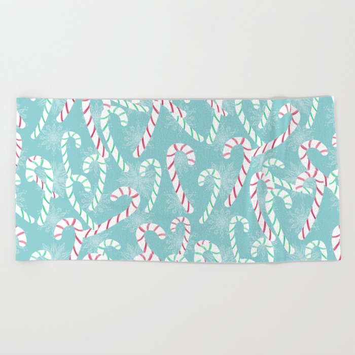 Frosty Canes Beach Towel