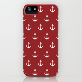 Maritime Nautical Red and White Anchor Pattern - Medium Size Anchors iPhone Case