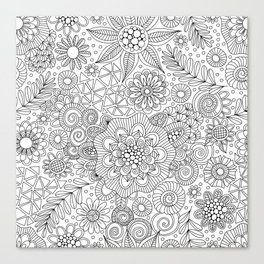 White Doodle Pattern Canvas Print