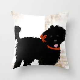 Black Labradoodle dog Throw Pillow