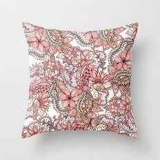 Boho chic red brown floral hand drawn pattern Throw Pillow