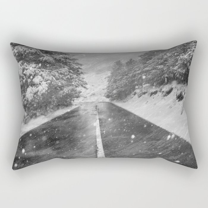 """Snowstorm in the road"" At the mountains Rectangular Pillow"
