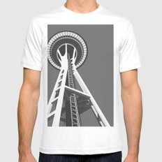 Space Needle MEDIUM White Mens Fitted Tee