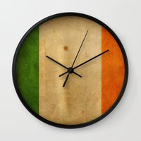 ruben ireland Wall Clocks featuring Ireland by NicoWriter