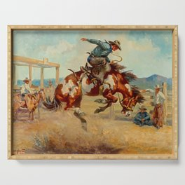 """""""Pitching Pony"""" by Oleg Wieghorst Serving Tray"""