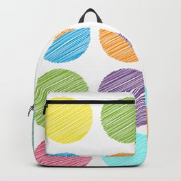 rainbow color Polka dot background. scribble dot on white Backpack