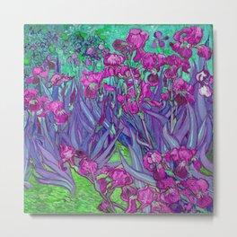 Vincent Van Gogh Irises Painting Violet Fuchsia Palette Metal Print