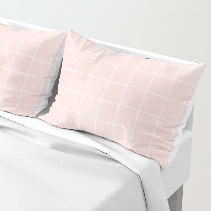 Blush Pink Coral Grid Pillow Sham