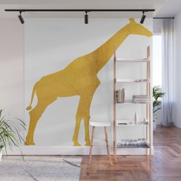 Giraffe Silhouette in Bold Gold Wall Mural