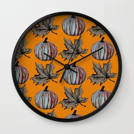 Pumpkin Spooky Fall Leaf Wall Clock