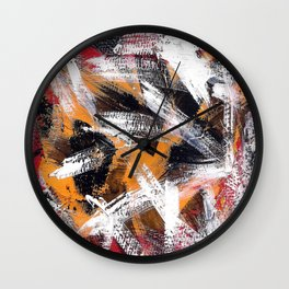 Abs orange black and white Wall Clock