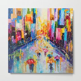 RAINING IN THE CITY Metal Print