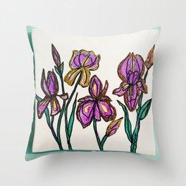 Iris with glitter Throw Pillow