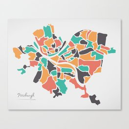 Pittsburgh Pennsylvania Map with neighborhoods and modern round shapes Canvas Print