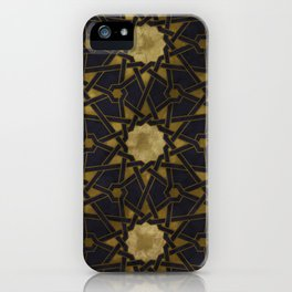 Islamic decorative pattern with golden artistic texture iPhone Case
