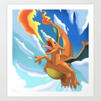 charizard Art Prints featuring Charizard by Pablo Rey