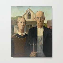 American Gothic by Grant Wood Metal Print