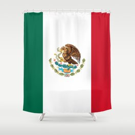 The Mexican national flag - Authentic high quality file Shower Curtain