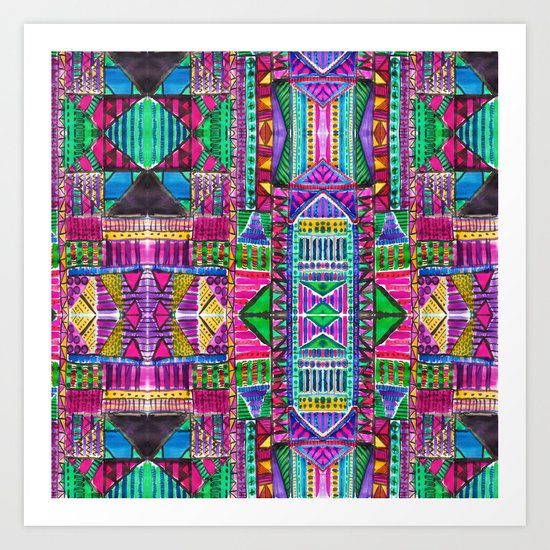 Tribal Patchwork Pink Art Print