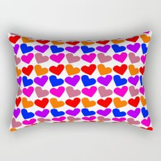 Colorful Hearts Pattern Rectangular Pillow
