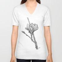 magnolia V-neck T-shirts featuring Magnolia by Helena Areman