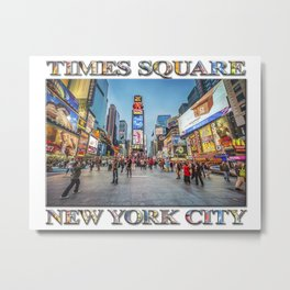 Times Square Sparkle (with typography) Metal Print