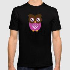 Pink Owl Hoot! MEDIUM Black Mens Fitted Tee