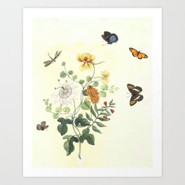 The return of Spring - butterflies and flowers Art Print