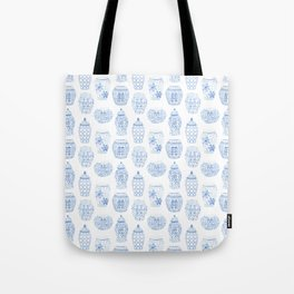 Classic Blue And White Watercolor Ginger Jar Chinoiserie Pattern Tote Bag
