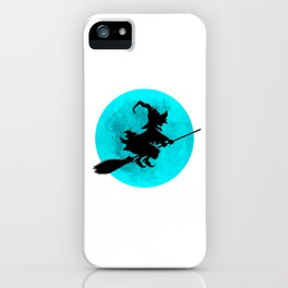 Witch On Broom With Full Moon Gift For Halloween Costume iPhone Case