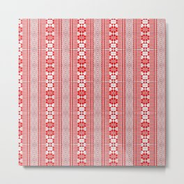 fancy tribal borders, red Metal Print