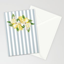 Lemon and flowers on blue stripes  Stationery Cards