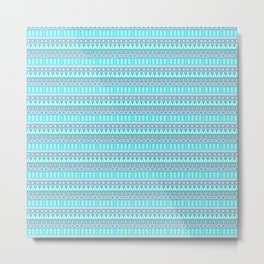 Aqua Blue and Gray Aztec Tribal Pattern Metal Print