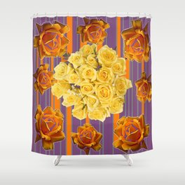 YELLOW ROSES PUCE STRIPE PATTERN Shower Curtain